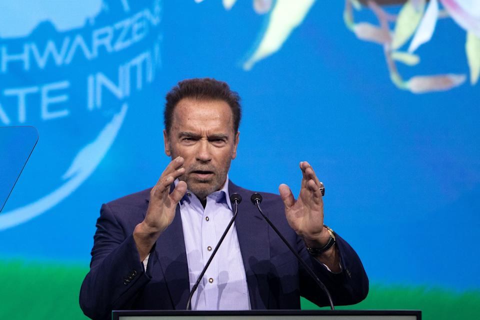 Austrian-US actor and former US politician Arnold Schwarzenegger speaks on stage during the fifth
