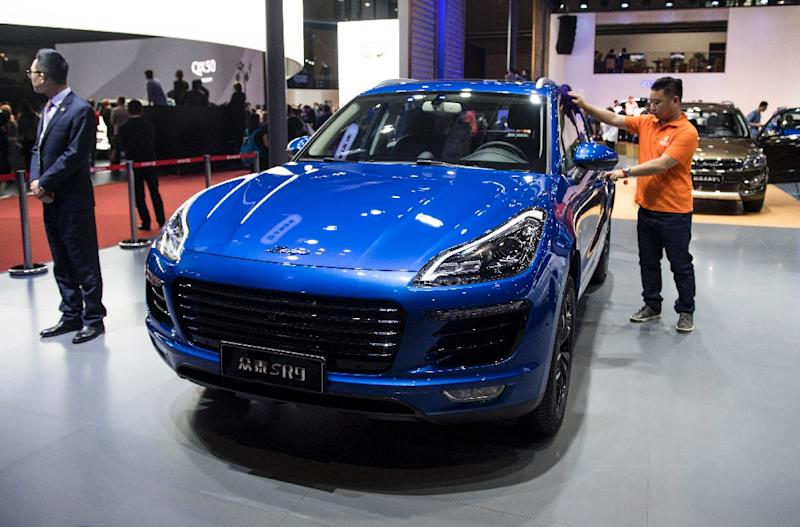 Auto doppelgangers on show in Shanghai include one by little-known Chinese brand Zotye which could be mistaken for Porsche's sporty Macan SUV (AFP Photo/Johannes EISELE)