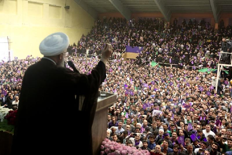 Iranian President and candidate in Friday's election Hassan Rouhani addresses a campaign rally in the northwestern city of Ardabil on May 17, 2017