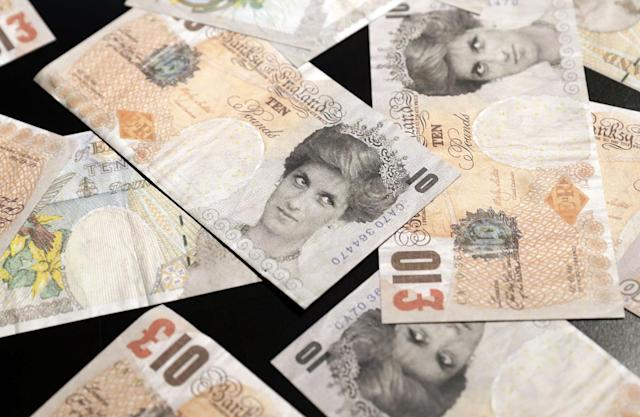 <p>A view of fake banknotes with the image of late Lady Di entitled 'Di Faced Tenners' by British Banksy is on display at the exhibition 'The Art of Banksy' in Berlin, Germany on June 20, 2017. (Felipe Trueba/EPA/REX/Shutterstock) </p>