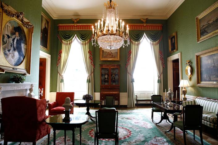 This Sept. 17, 2019, photo shows repurposed draperies in the Green Room of the White House in Washington, which are among the improvement projects that first lady Melania Trump has overseen to keep the well-trod public rooms at 1600 Pennsylvania Avenue looking their museum-quality best.