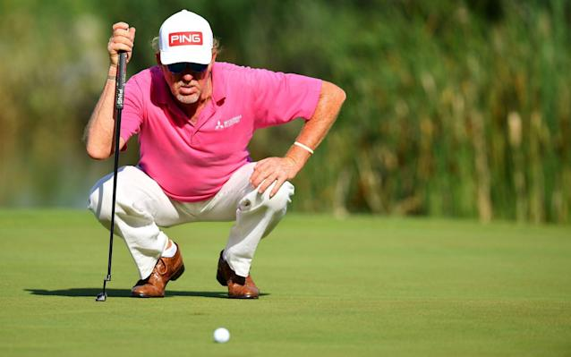 Miguel Angel Jimenez of Spain pictured lining up a birdie putt on the 18th green during day two of the Austrian Open - Getty Images