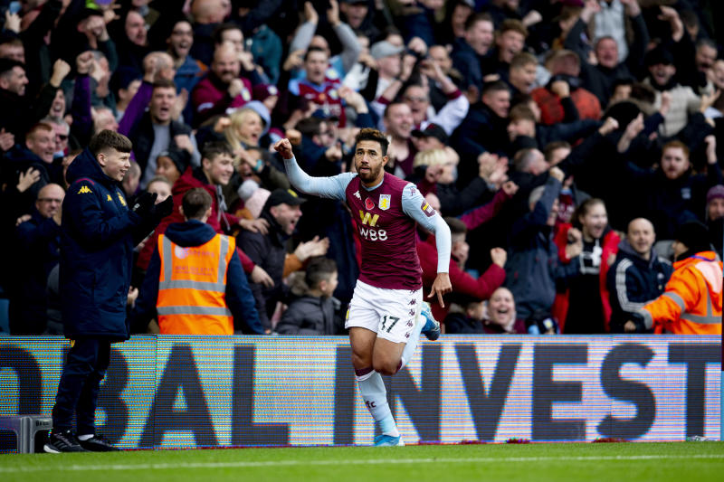 BIRMINGHAM, ENGLAND - NOVEMBER 02: Mahmoud Trezeguet of Aston Villa scores for Aston Villa during the Premier League match between Aston Villa and Liverpool FC at Villa Park on November 02, 2019 in Birmingham, United Kingdom. (Photo by Neville Williams/Aston Villa FC via Getty Images)
