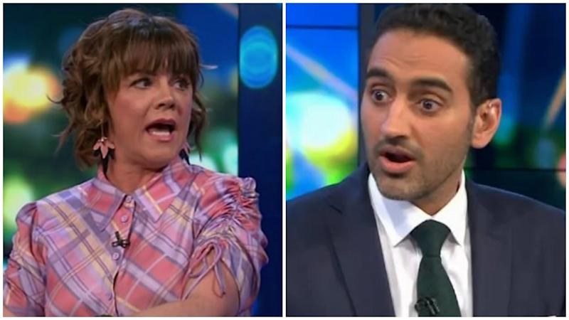 Waleed Aly and Em Rusciano had an hilariously awkward on Thursday's night episode of The Project. Photo: Channel 10/The Project