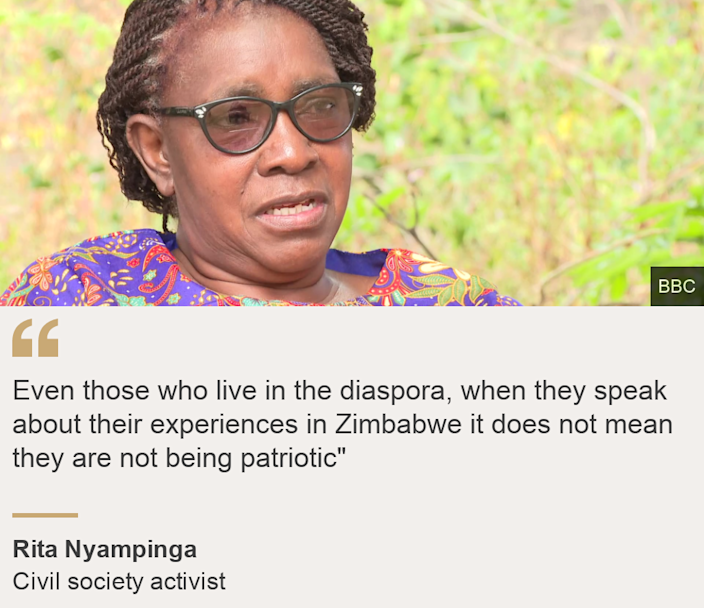 """""""Even those who live in the diaspora, when they speak about their experiences in Zimbabwe it does not mean they are not being patriotic"""""""", Source: Rita Nyampinga, Source description: Civil society activist, Image: Rita Nyampinga"""