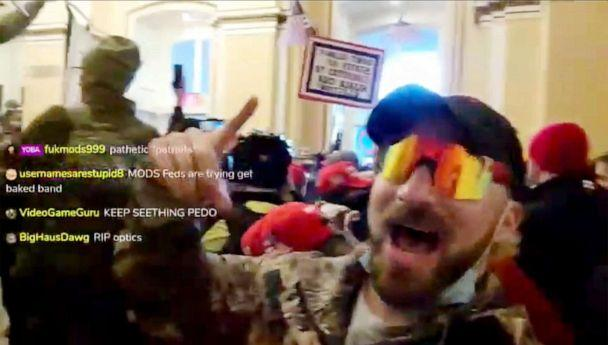 PHOTO: A still from a since-removed livestream taken by 'Baked Alaska' (Anthime Joseph Gionet) during the Capitol riot, Jan. 6, 2021. (Livestream)