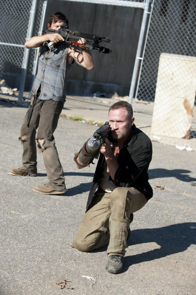 "Daryl Dixon (Norman Reedus) and Merle Dixon (Michael Rooker) in ""The Walking Dead"" episode, ""I Ain't a Judas."""