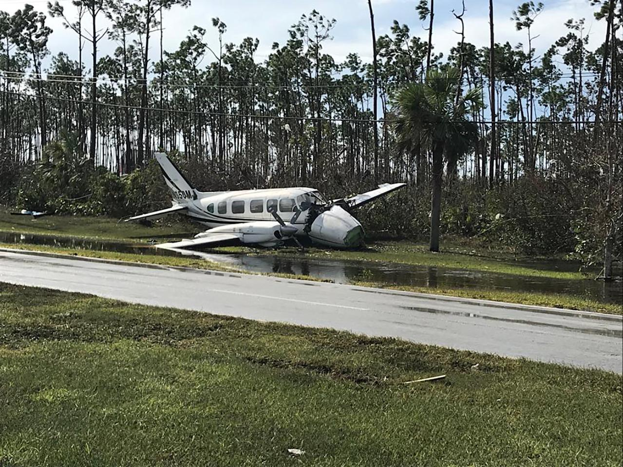 Debris left by Hurricane Dorian litters Grand Bahama International Airport in Freeport (Picture: AFP/Getty)