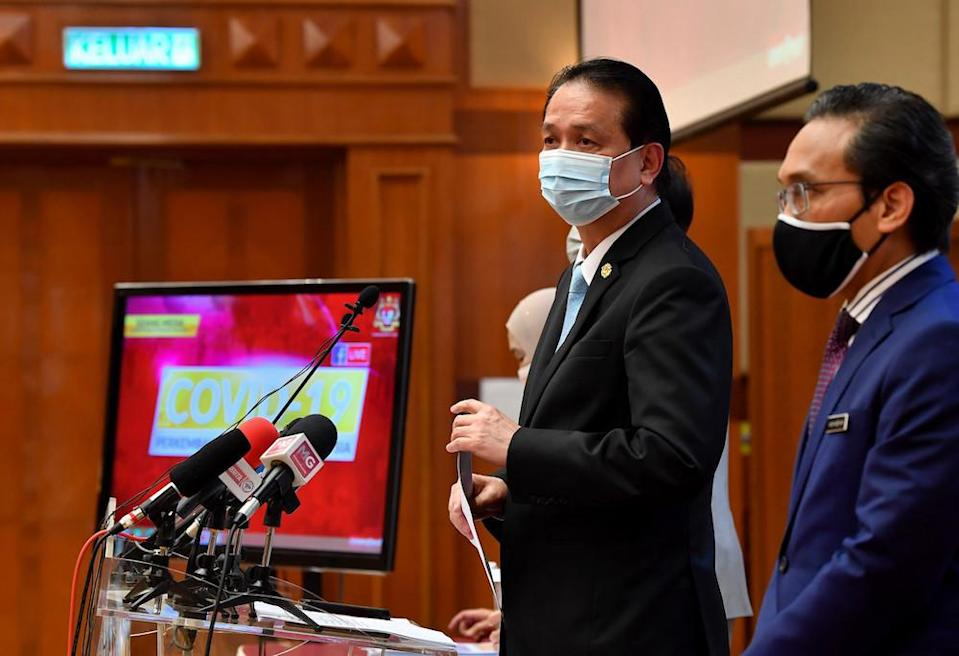 Health Director-General Tan Sri Dr Noor Hisham Abdullah during a daily press conference on Covid-19 cases at the Ministry of Health, Putrajaya February 16, 2021. — Bernama pic