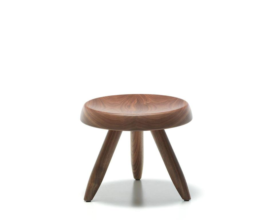 """<p>Displaying Perriand's love of natural materials, craftsmanship and simplicity, the '524 Tabouret Berger' stool was presented for the first time in Tokyo at the 1955 'Proposition d'une Synthese des Arts' exhibition. A modern interpretation of a milking stool, it neatly unites comfort and practicality. The vintage piece has been part of Cassina's <a href=""""https://www.cassina.com/it/en/maestri/charlotte-perriand.html"""" rel=""""nofollow noopener"""" target=""""_blank"""" data-ylk=""""slk:I Maestri collection"""" class=""""link rapid-noclick-resp"""">I Maestri collection</a> of reissued classics since 2011.</p>"""
