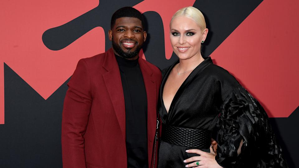 NEWARK, NEW JERSEY - AUGUST 26: P.K. Subban and Lindsey Vonn attend the 2019 MTV Video Music Awards at Prudential Center on August 26, 2019 in Newark, New Jersey. (Photo by Jeff Kravitz/FilmMagic)