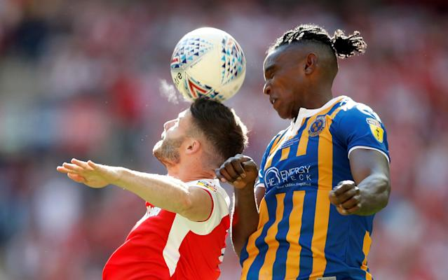 "Soccer Football - League One Play-Off Final - Rotherham United v Shrewsbury Town - Wembley Stadium, London, Britain - May 27, 2018 Rotherham's Anthony Forde in action with Shrewsbury Town's Omar Beckles Action Images/Carl Recine EDITORIAL USE ONLY. No use with unauthorized audio, video, data, fixture lists, club/league logos or ""live"" services. Online in-match use limited to 75 images, no video emulation. No use in betting, games or single club/league/player publications. Please contact your account representative for further details."