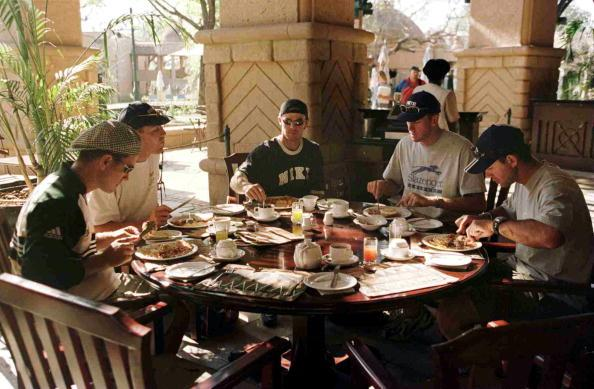 12 Oct 1999:  Left to right; Justin Langer, Michael Slater, Greg Blewett, Glenn McGrath and Ricky Ponting have breakfast at the Victoria Falls in Zimbabwe. Mandatory Credit: Hamish Blair/ALLSPORT