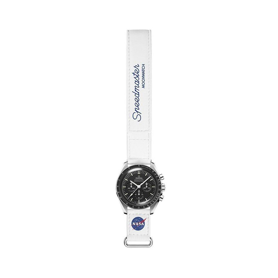 "<p><strong>Omega</strong></p><p>Omega</p><p><strong>$190.00</strong></p><p><a href=""https://www.omegawatches.com/en-us/omega-watch-straps-2-piece-white-speedmaster-moonwatch-velcror-strap-032cwz016041w"" rel=""nofollow noopener"" target=""_blank"" data-ylk=""slk:Shop Now"" class=""link rapid-noclick-resp"">Shop Now</a></p><p>OMEGA is honoring its longstanding legacy of space exploration with new velcro straps that offer astronaut-friendly adjustments, but also make the perfect accessory for the average space lover. These 20mm straps come in black, white, and grey and is seen here paired with the brand's Master Chronometer certified Moonwatch, but can easily be paired with any watch.</p>"