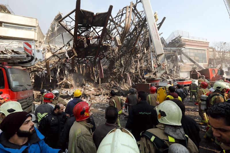 High-Rise Collapses In Tehran, Killing Firefighters Working Inside
