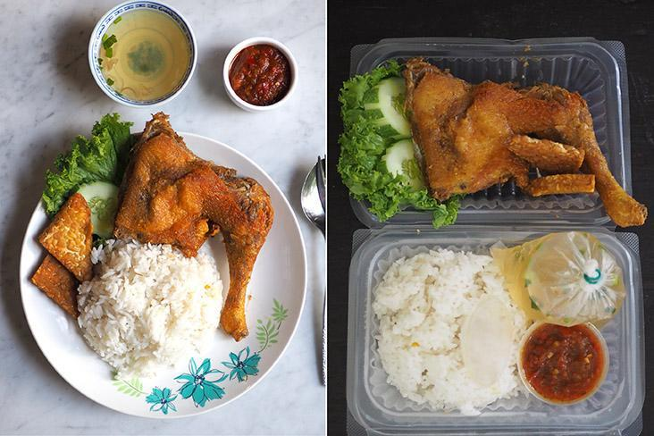 For lunch or dinner, select their 'ayam penyet' is served with a tasty 'sambal' and fried 'tempe'(left). Your takeaway of 'ayam penyet' is neatly packed with the 'sambal' and soup in separate packets (right).