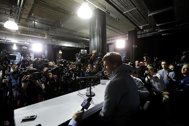 New England Patriots quarterback Tom Brady speaks to reporters about the upcoming Super Bowl during a media availability in Minneapolis, Minnesota, U.S. January 30, 2018 REUTERS/Kevin Lamarque