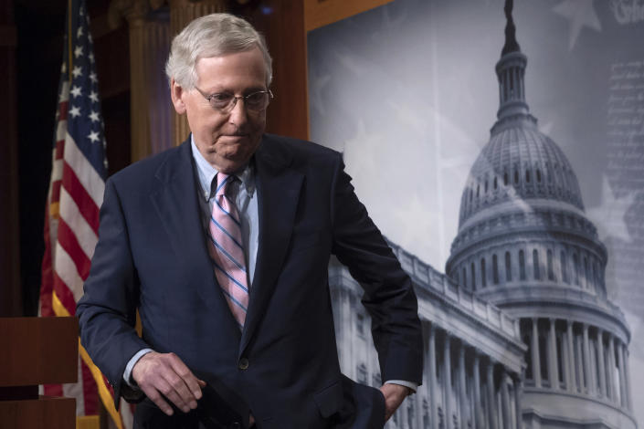 Senate Majority Leader Mitch McConnell, R-Ky., finishes speaking to reporters at the Capitol on Oct. 6. (Photo: J. Scott Applewhite/AP)