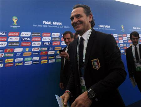 Italy's coach Cesare Prandelli arrives for the draw for the 2014 World Cup at the Costa do Sauipe resort in Sao Joao da Mata, Bahia state, December 6, 2013. REUTERS/Ricardo Moraes