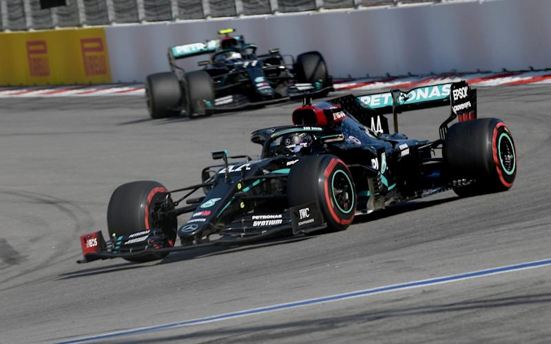 Mercedes driver Lewis Hamilton of Britain steers his car during the Russian Formula One Grand Prix, at the Sochi Autodrom circuit, in Sochi, Russia, Sunday, Sept. 27, 2020. - afp/Kirill Kudryavtsev
