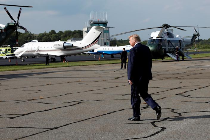President Donald Trump's weekend golf getaway at his resort in New Jersey adds at least $1.1 million to his vacation tab, paid by taxpayers, which now tops $110 million in his 30 months in office. That's more than what a conservative group said were former President Barack Obama's travel costs for his entire two-term presidency. (Photo: Yuri Gripas / Reuters)
