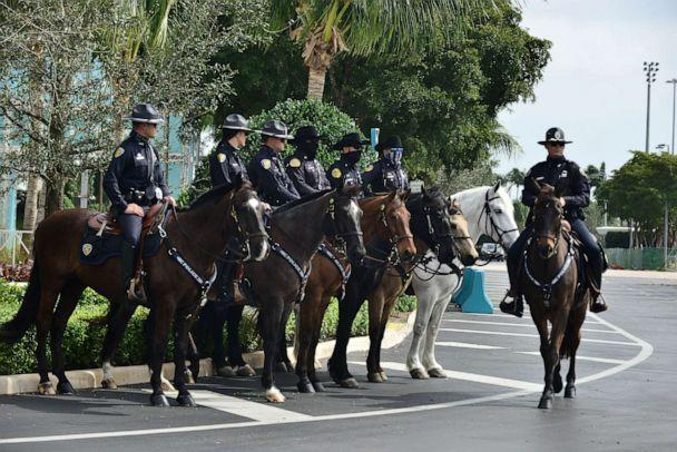 PHOTO: Mounted police officers stand on guard for the memorial service to honor slain FBI agent Dan Alfin at the Hard Rock Stadium, Feb. 7, 2021, in Miami Gardens, Fla. (JLN Photography/Shutterstock/Rex)