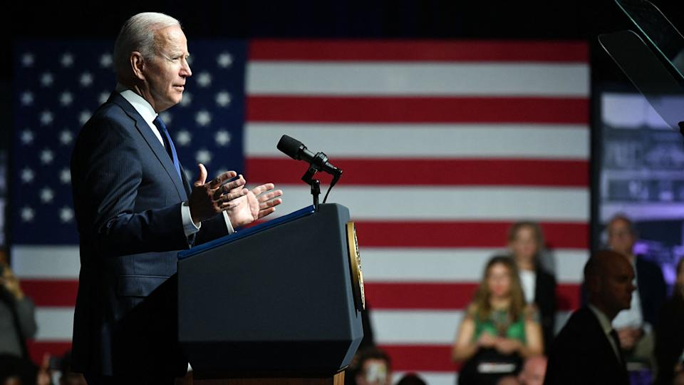 US President Joe Biden delivers remarks to commemorate the 100th anniversary of the Tulsa Race Massacre at the Greenwood Cultural Center in Tulsa, Oklahoma on June 1, 2021. (Mandel Ngan/AFP via Getty Images)