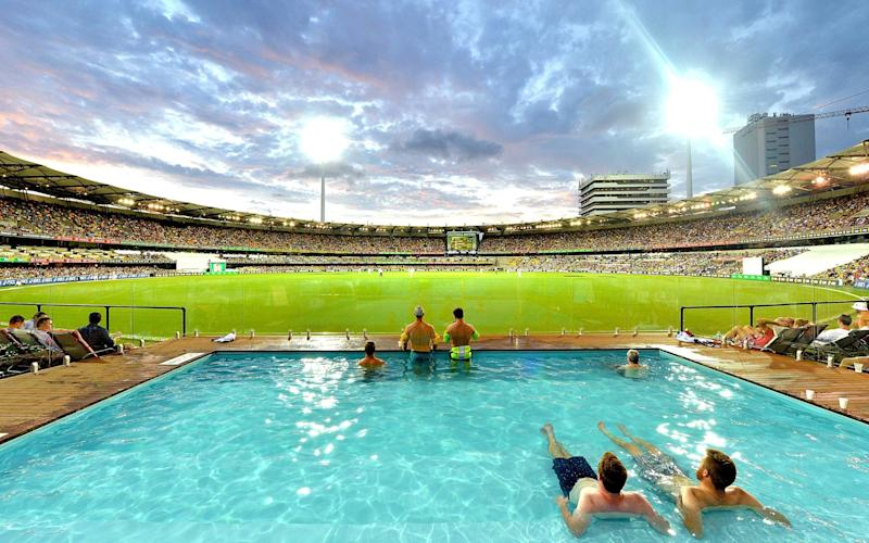 Fans in the boundary pool at the Gabba, Brisbane, venue for the opening Ashes Test - Getty Images AsiaPac