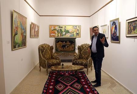A Libyan businessman Mustafa Iskandar is seen at his art gallery and cultural centre in the old city of Tripoli, Libya April 23,2019. REUTERS/Ahmed Jadallah