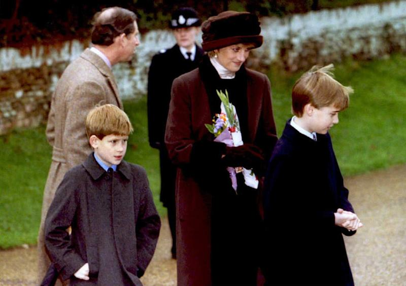 Princess Diana with her sons, Harry and William, leaving the church of St. Mary Magdalene near Sandringham House on Christmas Day, 1994.