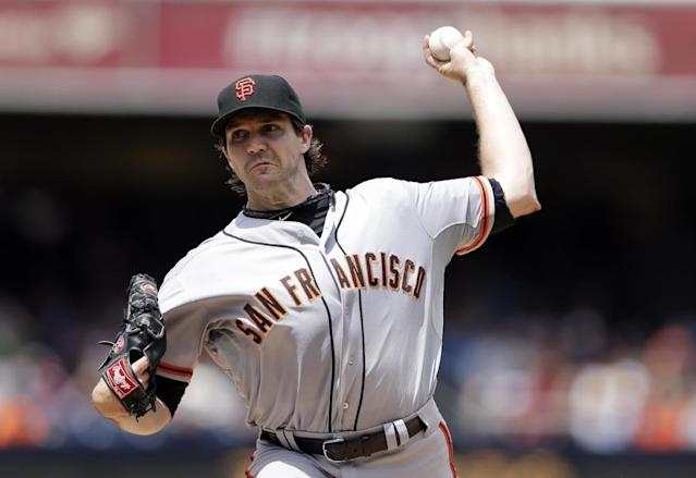 San Francisco Giants starting pitcher Barry Zito pitches to a San Diego Padres batter during the first inning, Monday, Sept. 2, 2013, in San Diego. (AP Photo/Gregory Bull)