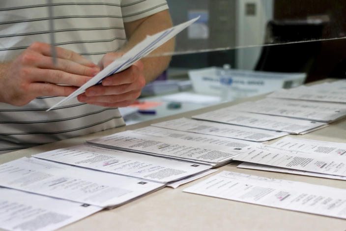Processing work on mail in ballots for the Pennsylvania Primary election is being done at the Butler County Bureau of Elections, in Butler, Pa.on May 28, 2020. (Keith Srakocic/AP)