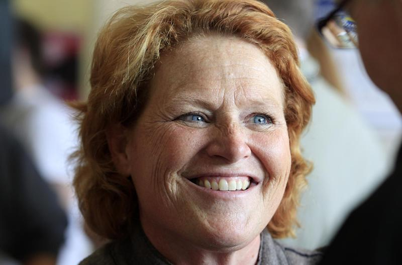 FILE - In this Nov. 5, 2102 file photo, then-Democratic Senate candidate, now Sen. Heidi Heitkamp, D-N.D. smiles as she speaks in Grand Forks, N.D. There is little mystery, from a campaign viewpoint, at least, about the eight senators who crossed party lines in Wednesday's showdown vote on background checks for gun buyers. The four Democrats who voted against broader background checks are from largely rural states that voted heavily against President Barack Obama last fall. (AP Photo/LM Otero, File)
