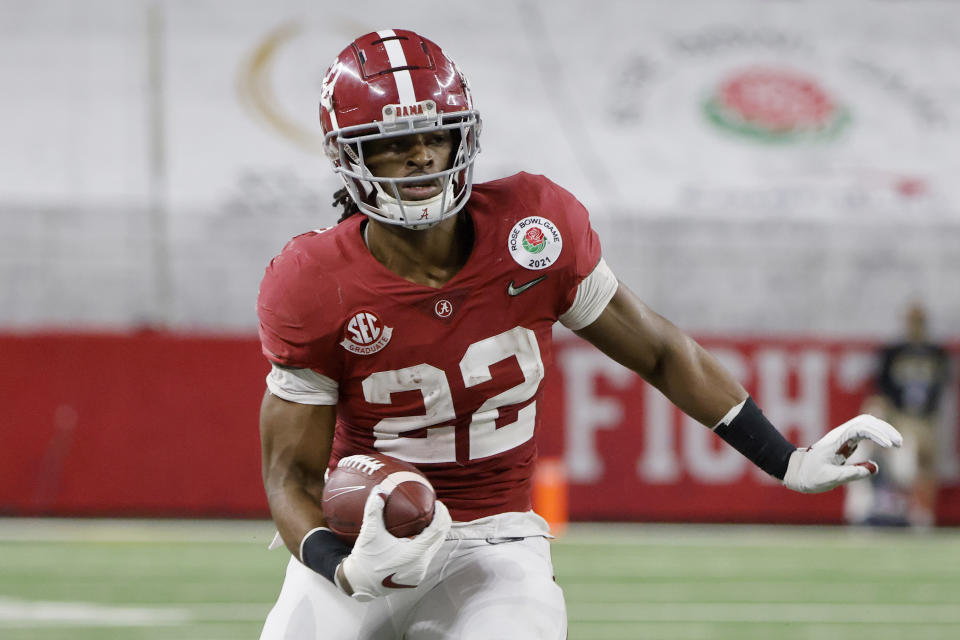 Alabama running back Najee Harris scored 57 touchdowns for the Crimson Tide. (AP Photo/Michael Ainsworth)