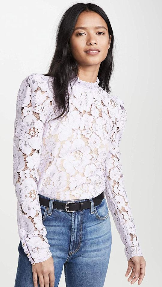 "<p>This bestselling <a href=""https://www.popsugar.com/buy/Wayf-Emma-Puff-Sleeve-Lace-Top-553581?p_name=Wayf%20Emma%20Puff-Sleeve%20Lace%20Top&retailer=amazon.com&pid=553581&price=89&evar1=fab%3Aus&evar9=47272223&evar98=https%3A%2F%2Fwww.popsugar.com%2Fphoto-gallery%2F47272223%2Fimage%2F47275816%2FWayf-Emma-Puff-Sleeve-Lace-Top&list1=shopping%2Camazon%2Cspring%2Cspring%20fashion%2Cfashion%20shopping&prop13=api&pdata=1"" rel=""nofollow"" data-shoppable-link=""1"" target=""_blank"" class=""ga-track"" data-ga-category=""Related"" data-ga-label=""https://www.amazon.com/WAYF-Womens-Sleeve-Lavender-Purple/dp/B083KMVZW2?s=shopbop&amp;ref_=sb_ts&amp;th=1&amp;psc=1"" data-ga-action=""In-Line Links"">Wayf Emma Puff-Sleeve Lace Top</a> ($89) is a customer favorite.</p>"