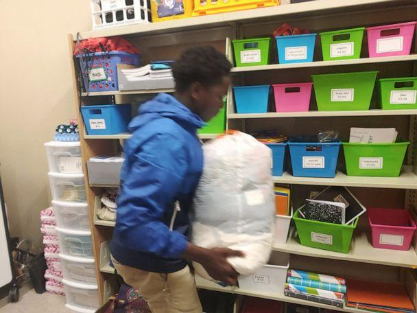 PHOTO: Chase Neyland-Square organizes a closet at his school in Louisiana, so kids can access to everyday necessities. (Courtesy Jessica Major)