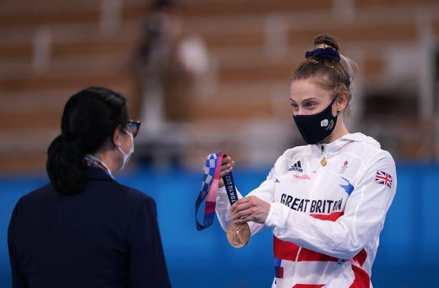 Bryony Page receives her medal