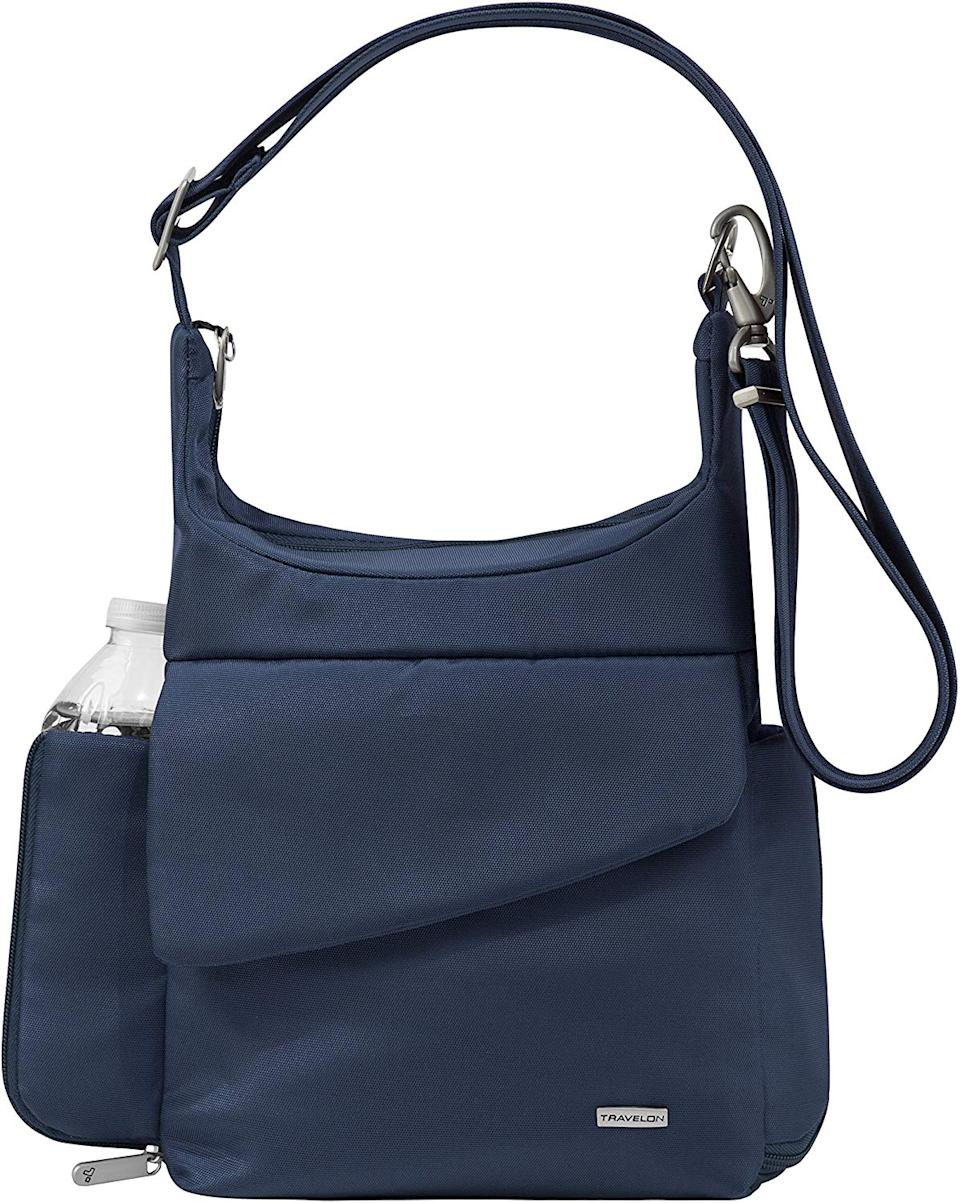 The sleek bag features adjustable cut-proof straps and a handy water bottle holder. (Photo: Amazon)