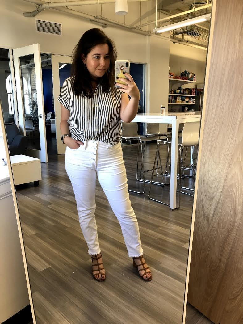 """<p>""""I got these white Madewell jeans a few years ago, and I love them! The high-rise button fly is my favorite flattering denim style, and they have just a smidge of stretch and the perfect thickness so they aren't too see-through or too stiff. Since <a href=""""https://www.madewell.com/10%22-high-rise-skinny-crop-jeans-button-front-edition-H5893.html"""" rel=""""nofollow noopener"""" target=""""_blank"""" data-ylk=""""slk:the exact style I got"""" class=""""link rapid-noclick-resp"""">the exact style I got</a> is sold out, these <a href=""""https://www.madewell.com/petite-10%22-high-rise-skinny-jeans-in-pure-white-step-hem-edition-K9112.html"""" rel=""""nofollow noopener"""" target=""""_blank"""" data-ylk=""""slk:petite pants"""" class=""""link rapid-noclick-resp"""">petite pants</a> are super similar."""" - Tara Block, content director</p>"""