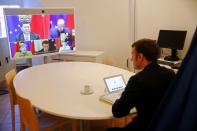 French President Emmanuel Macron attends an EU-China video-conference