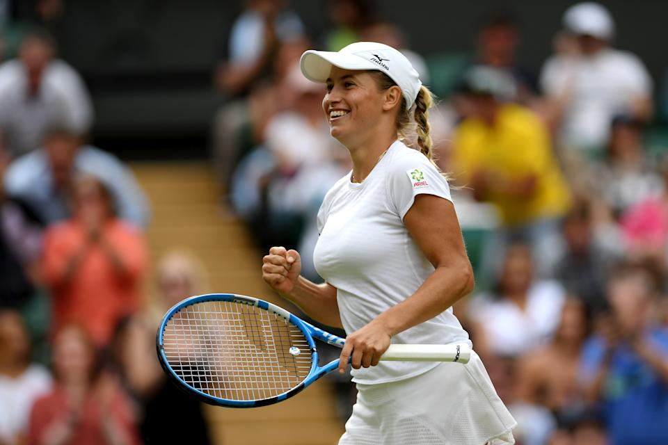 Yulia Putintseva of Kazakhstan celebrates match point in her Ladies' Singles first round match against Naomi Osaka of Japan during Day one of The Championships - Wimbledon 2019 at All England Lawn Tennis and Croquet Club on July 01, 2019 in London, England. (Photo by Shaun Botterill/Getty Images)