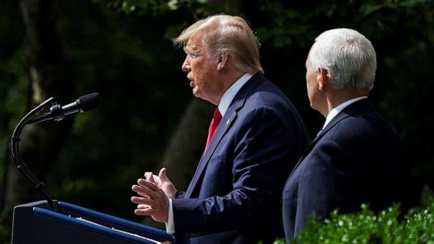 PHOTO: President Donald Trump talks about a U.S. jobs report amid the coronavirus disease (COVID-19) pandemic as he addresses a news conference as Vice President Mike Pence listens in the Rose Garden at the White House in Washington, June 5, 2020. (Kevin Lamarque/Reuters)