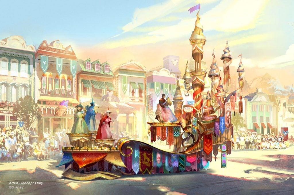 "<p>The <strong>Sleeping Beauty</strong>-inspired float will include ""the trio of fairies . . . who transform Princess Aurora's gown from pink to blue and back again!"" The float will be a part of Magic Happen's ""regal"" grand finale, which will incorporate many classic Disney stories and characters.</p>"