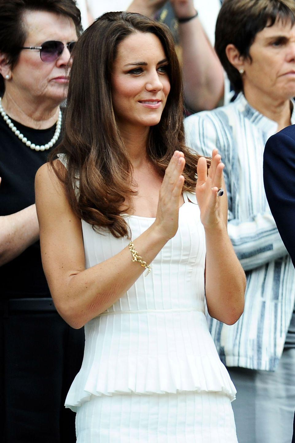 <p><strong>2011</strong> The Duchess of Cambridge wore an elegant white Temperley London to attend the 2011 tournament – the same year she married Prince William. </p>