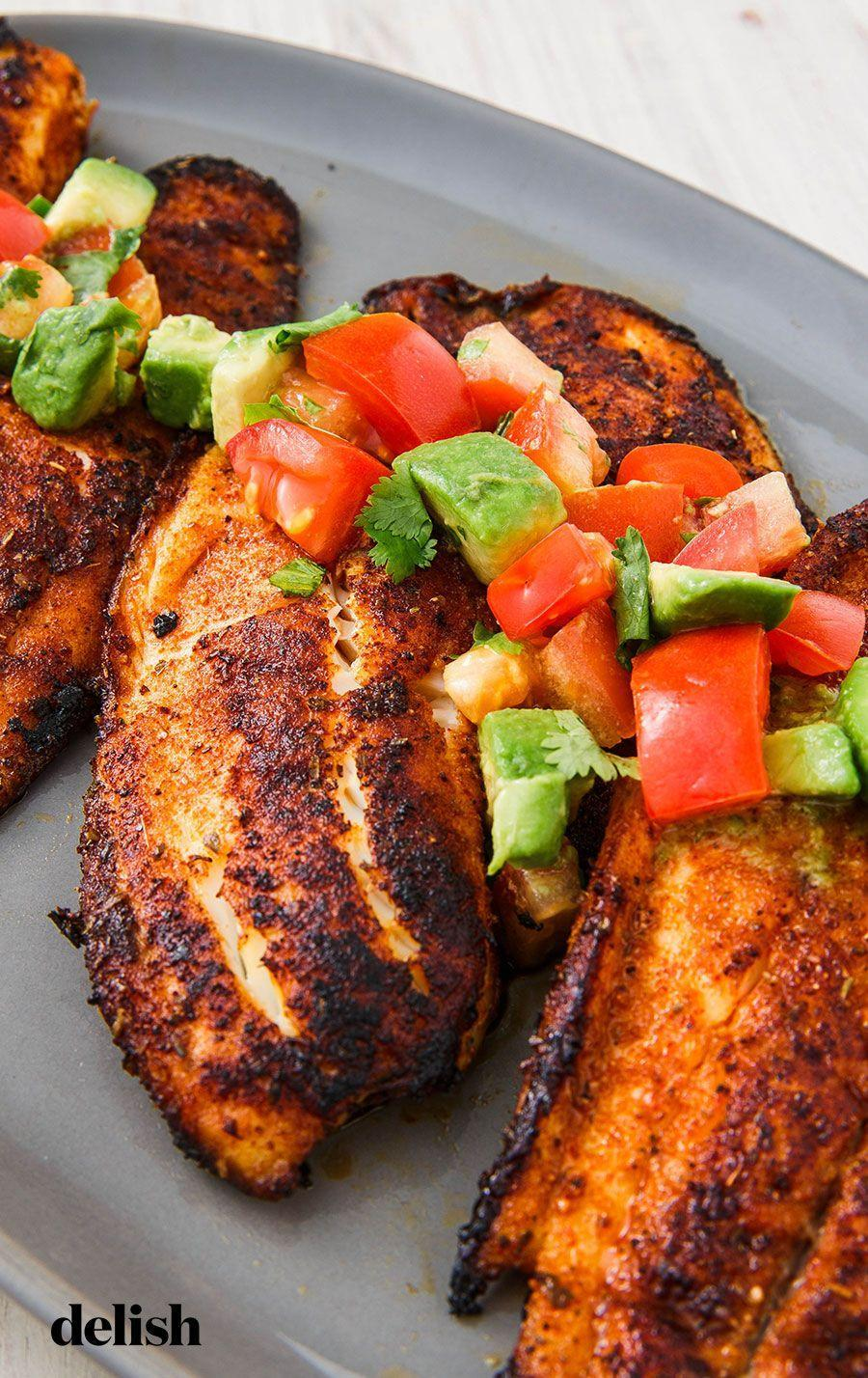 """<p>Tilapia is one of our fave budget-friendly fishes, and this flavor-packed spice rub makes it 10x better.</p><p>Get the recipe from <a href=""""https://www.delish.com/cooking/recipe-ideas/a25239430/blackened-tilapia-recipe/"""" rel=""""nofollow noopener"""" target=""""_blank"""" data-ylk=""""slk:Delish"""" class=""""link rapid-noclick-resp"""">Delish</a>.</p>"""