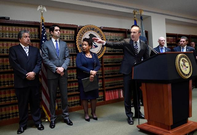 Acting US Attorney Kelly T. Currie of the Eastern District of New York speaks during the announcement of charges against FIFA officials at a news conference on May 27, 2015 in New York (AFP Photo/Don Emmert)