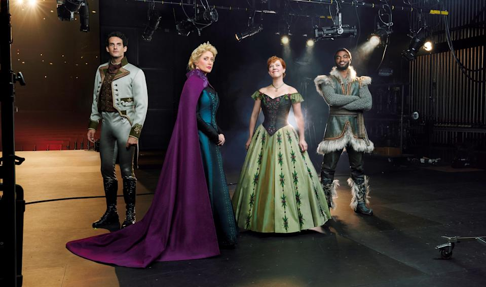 The stars of <em>Frozen</em> on Broadway. From left, John Riddle (Hans) Caissie Levy (Elsa), Patti Murin (Anna), and Jelani Alladin (Kristoff). (Photo: Andrew Eccles/Disney)