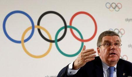 IOC President Bach attends a news conference after an Executive Board meeting in Lausanne