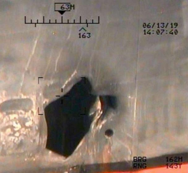 PHOTO: This photo is a view of hull penetration/blast damage sustained from a limpet mine attack on the starboard side of motor vessel M/T Kokuka Courageous, while operating in the Gulf of Oman, June 13. (Department of Defense)