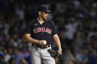 Cleveland Indians relief pitcher Trevor Stephan reacts after giving up a solo home run hit by Chicago Cubs' Patrick Wisdom during the eighth inning of a baseball game Tuesday, June 22, 2021, in Chicago. Chicago won 7-1. (AP Photo/Paul Beaty)